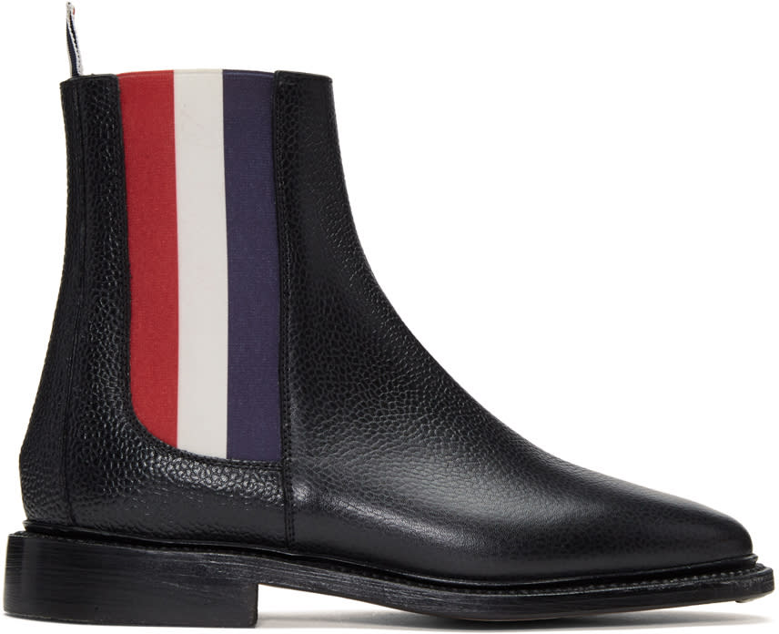 Image of Thom Browne Black and Tricolor Chelsea Boots