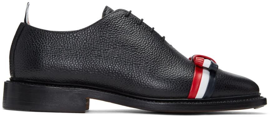 Image of Thom Browne Black and Tricolor Wholecut Bow Oxfords
