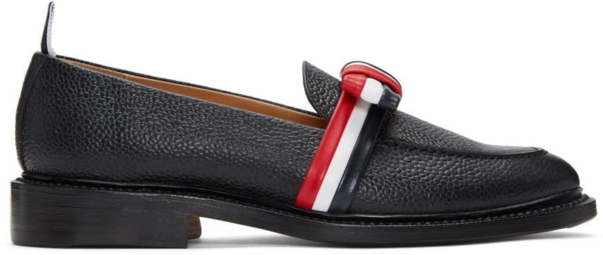 Thom Browne Black and Tricolor Bow Loafers