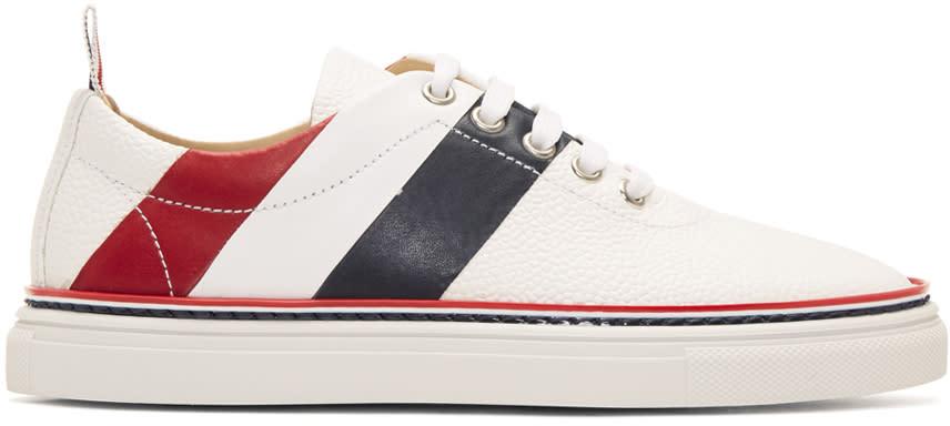 Thom Browne White Diagonal Stripe Sneakers
