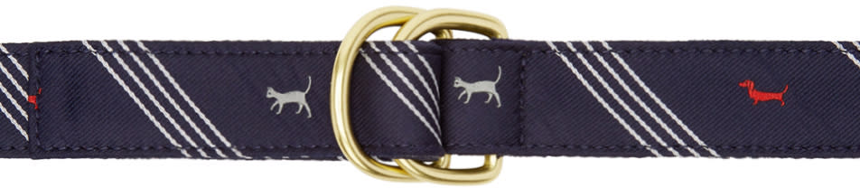 Thom Browne Navy Hector and Kitty D-ring Belt