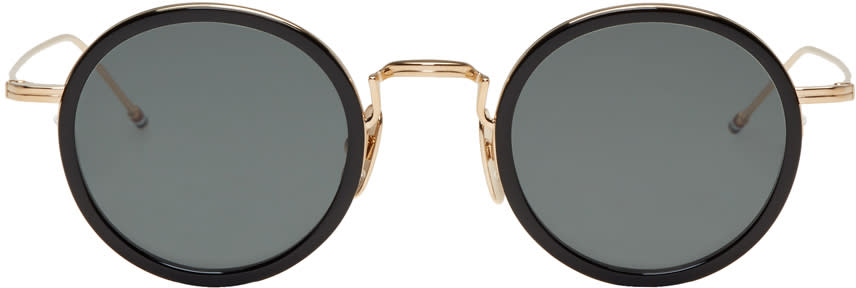 Thom Browne Black and Gold Tb 906 Sunglasses