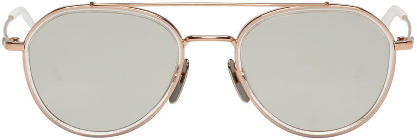Thom Browne Rose Gold Tb 801 Aviator Sunglasses