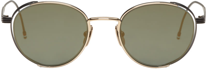 Thom Browne Black and Gold Tb 106 Sunglasses