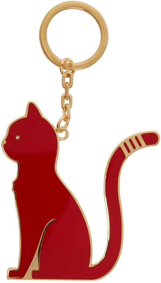 Image of Thom Browne Black and Red Thom Cat Keychain