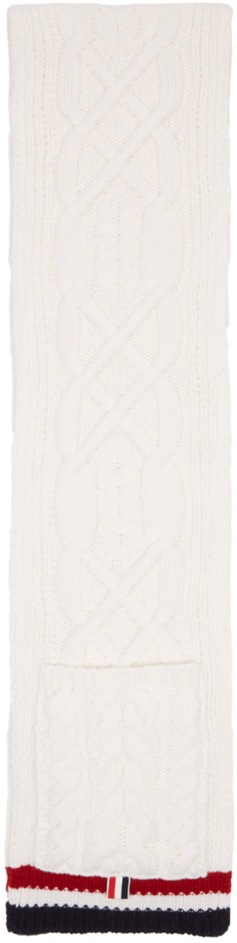 Thom Browne White Aran Cable Pocket Scarf