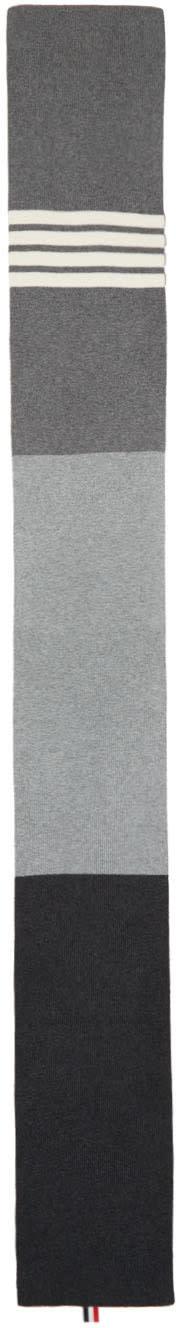 Thom Browne Grey Rib Cashmere Four Bar Funmix Scarf