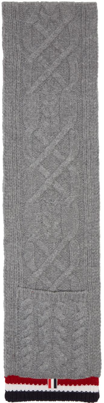Thom Browne Grey Aran Cable Pocket Scarf