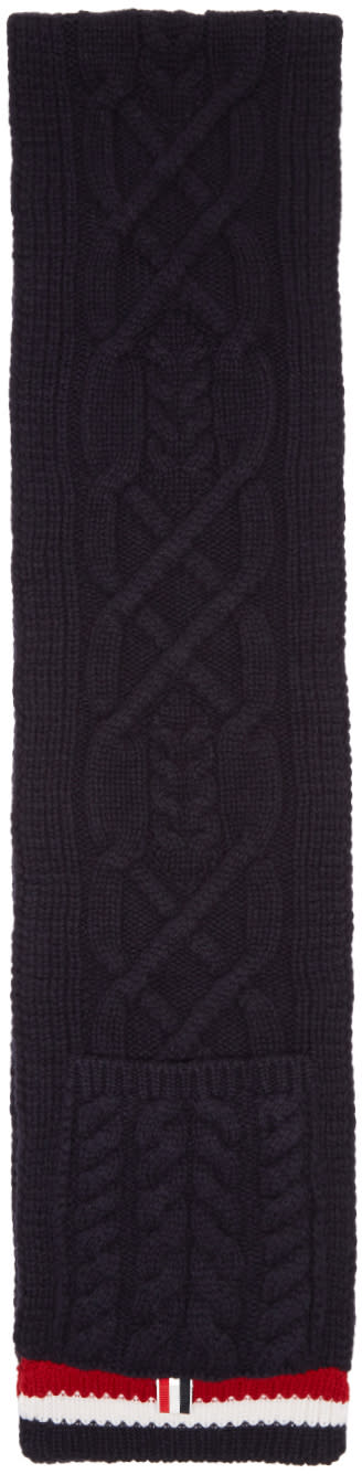 Thom Browne Navy Aran Cable Pocket Scarf
