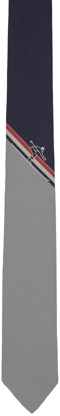 Thom Browne Navy Skier Stripe Classic Tie