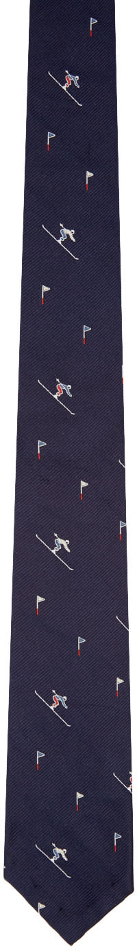 Thom Browne Navy Classic Skier Tie