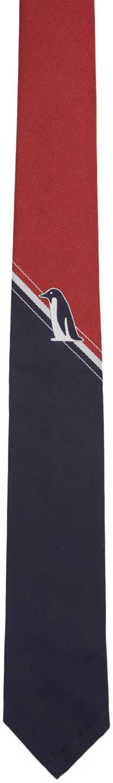 Thom Browne Red Penguin Stripe Classic Tie