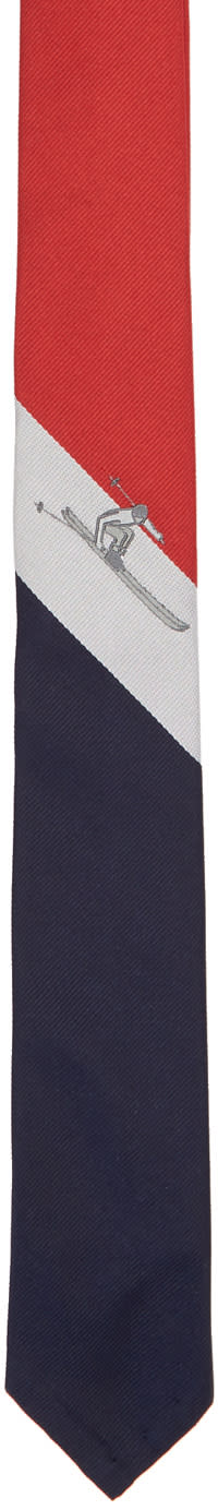 Thom Browne Red Classic Scenic Skier Tie