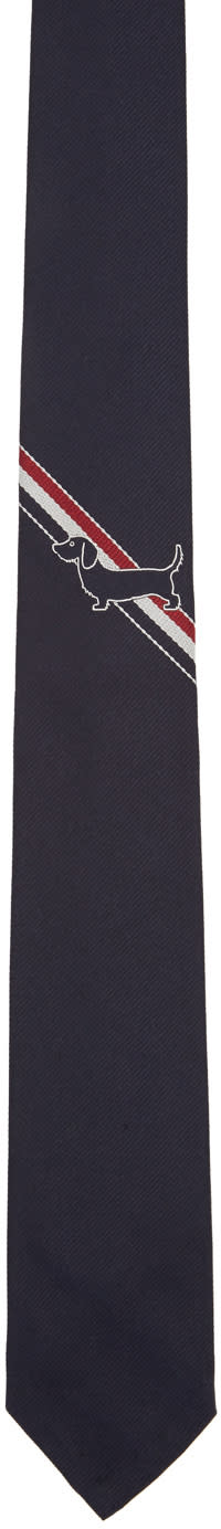 Thom Browne Navy Hector Stripe Classic Tie