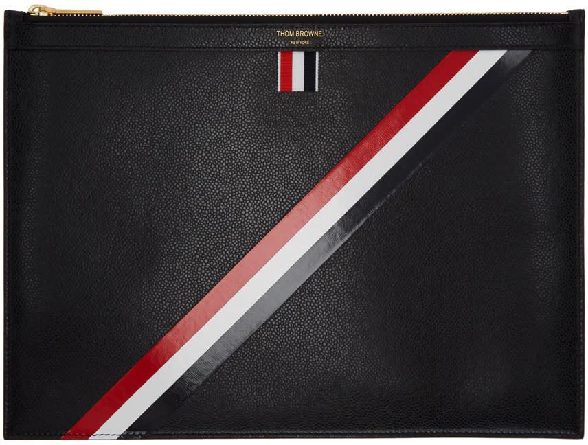 Thom Browne Black Medium Diagonal Stripe Zipper Document Holder