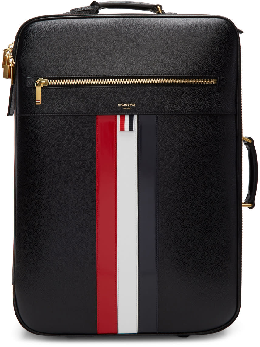 Thom Browne Black Check-in Wheeled Soft Suitcase