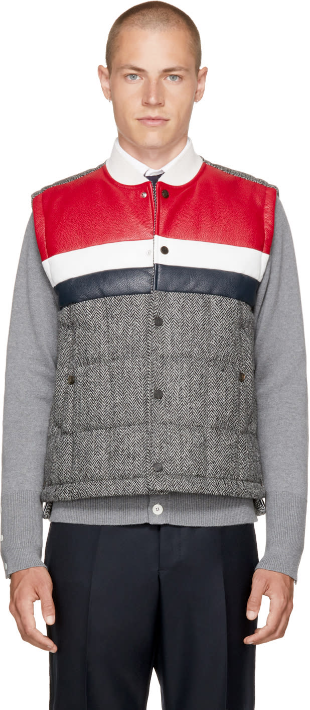 Image of Thom Browne Black and White Classic Down Herringbone Vest