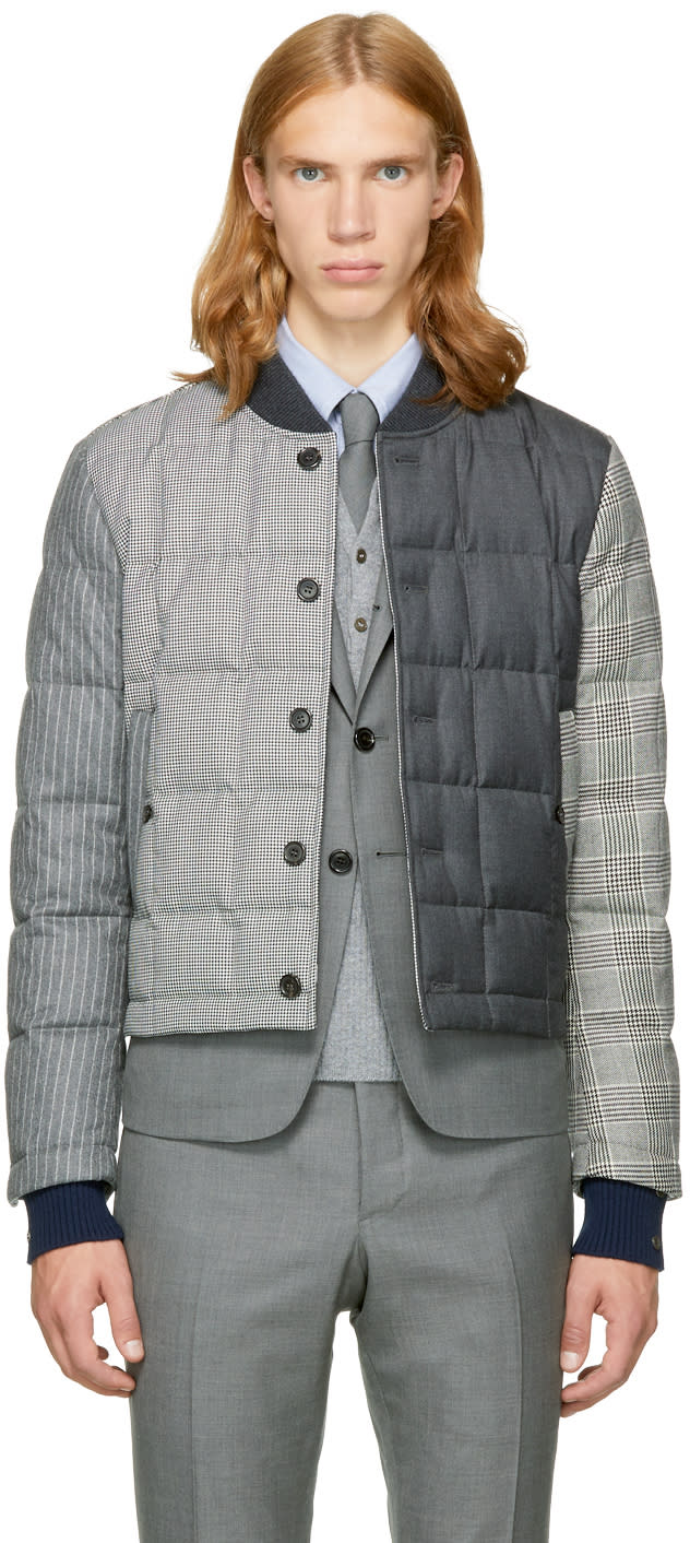 Image of Thom Browne Black and White Down Funmix Jacket
