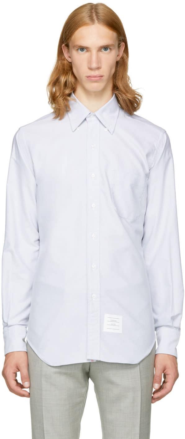 Image of Thom Browne Grey Classic Button-down Shirt