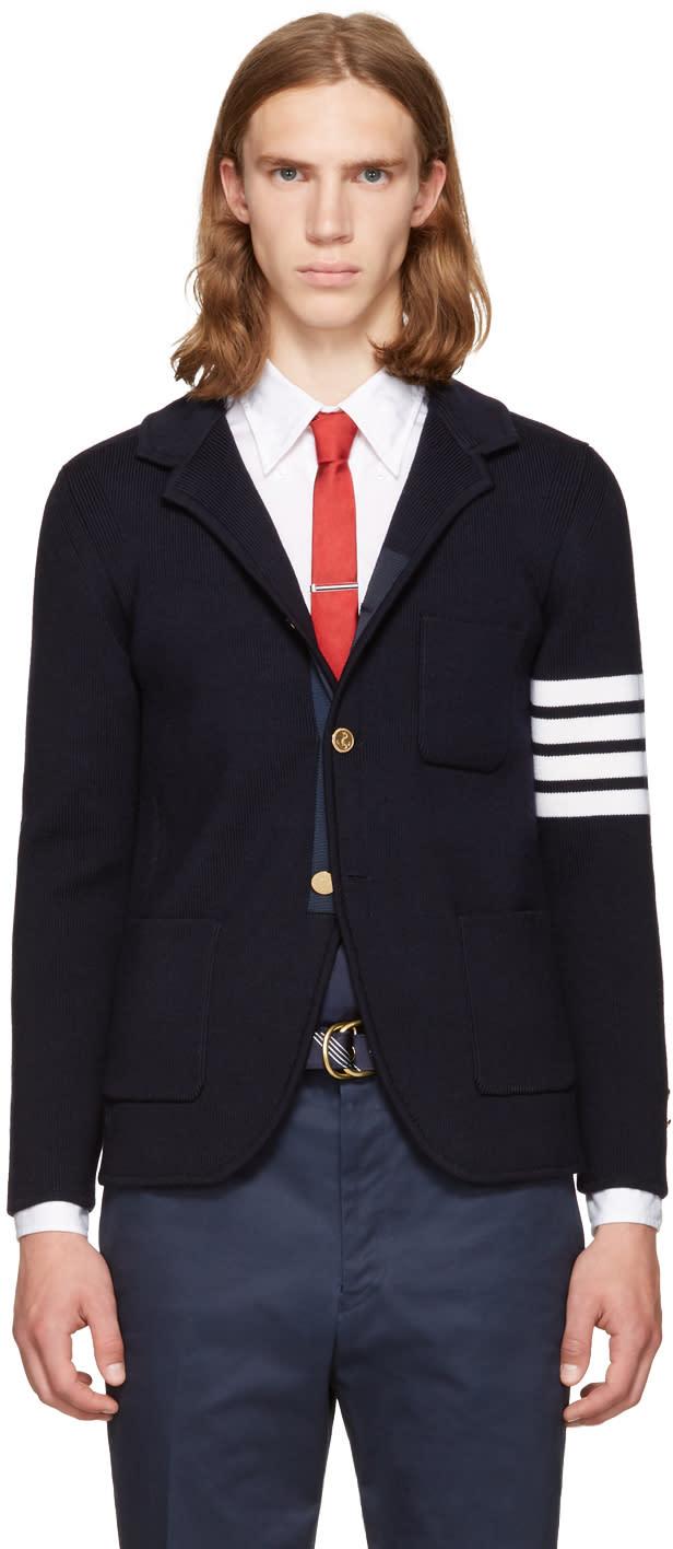 Thom Browne Navy Rib Knit Sport Blazer