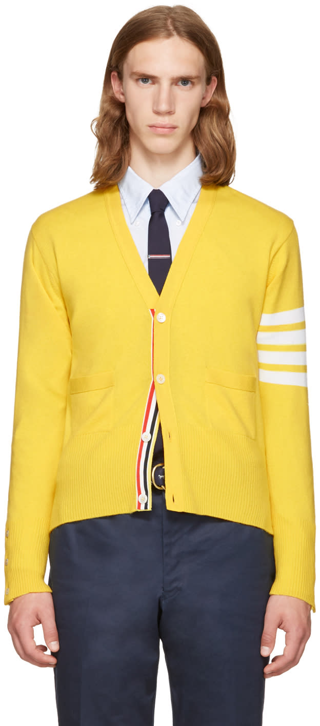 Thom Browne Yellow Classic V-neck Cardigan
