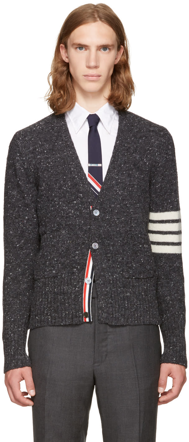 Thom Browne Grey Classic Mohair V-neck Cardigan