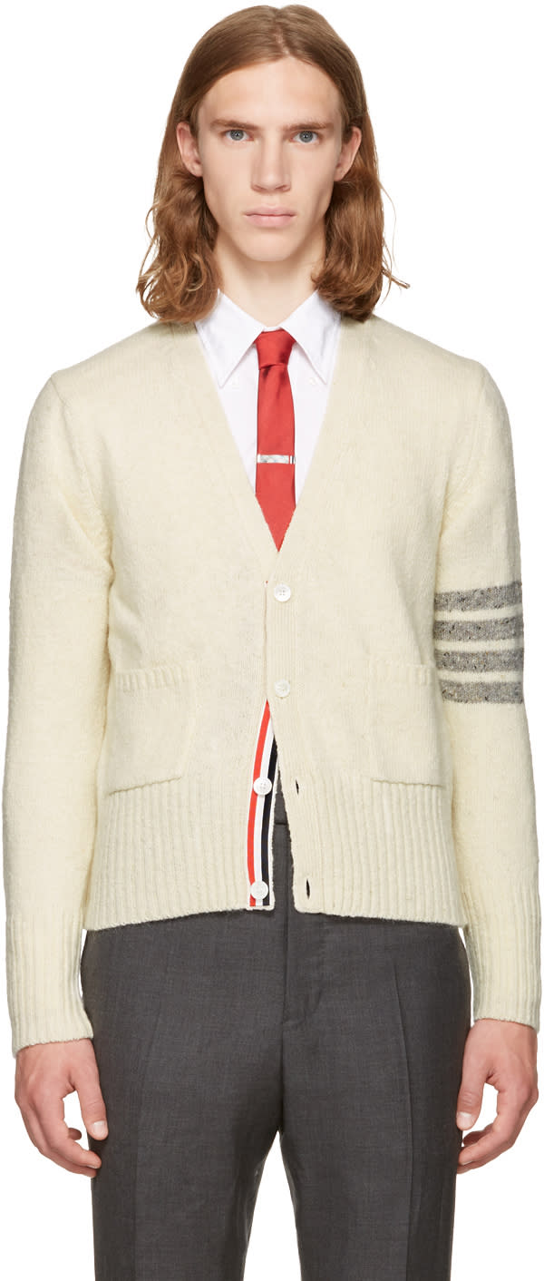 Thom Browne White Classic Mohair V-neck Cardigan