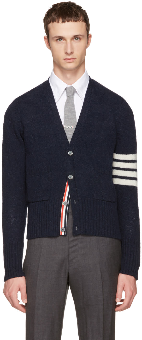 Thom Browne Navy Classic Mohair V-neck Cardigan