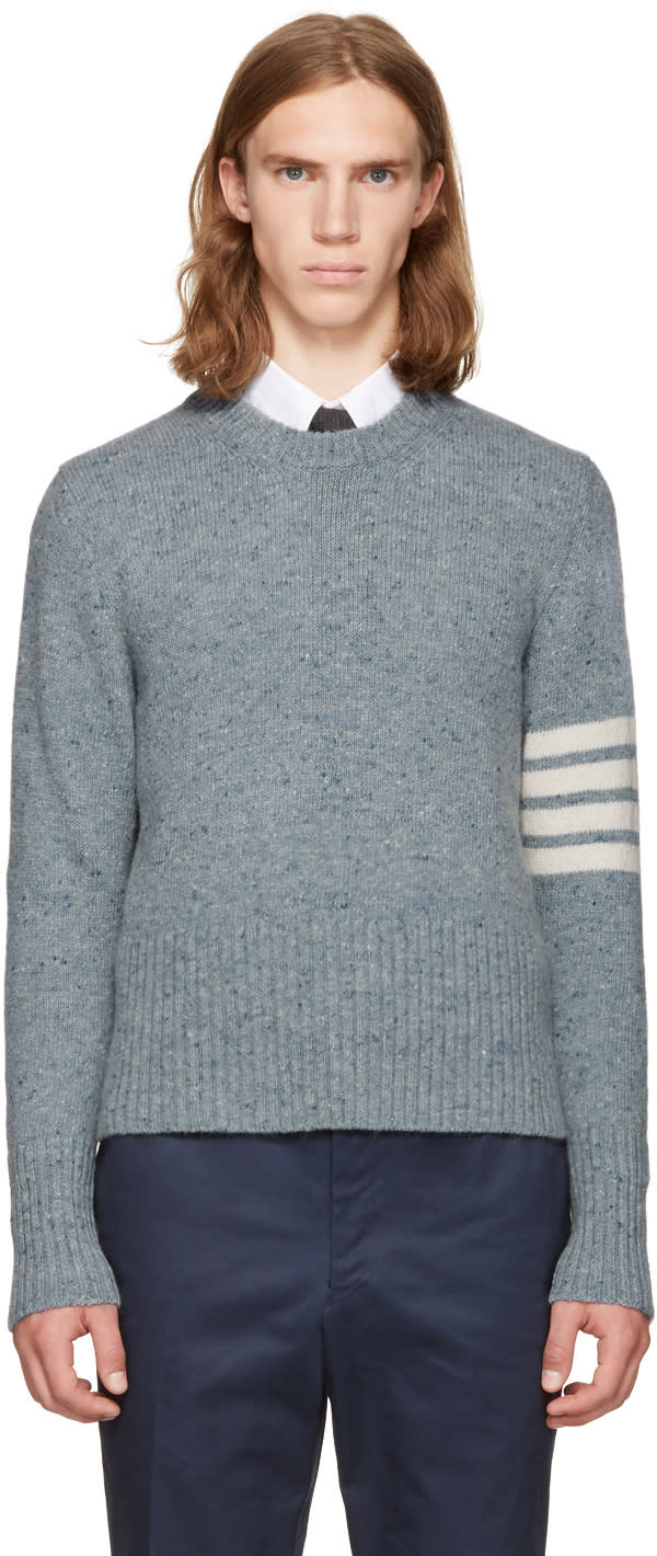 Thom Browne Blue Classic Mohair Crewneck Pullover