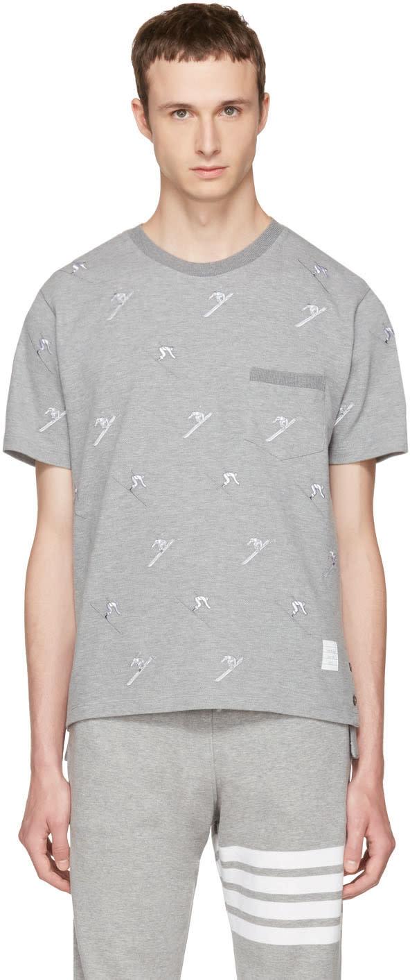 Thom Browne Grey Skier Pique Crewneck T-shirt
