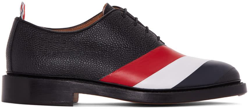 Thom Browne Black Diagonal Stripe Wholecut Oxfords