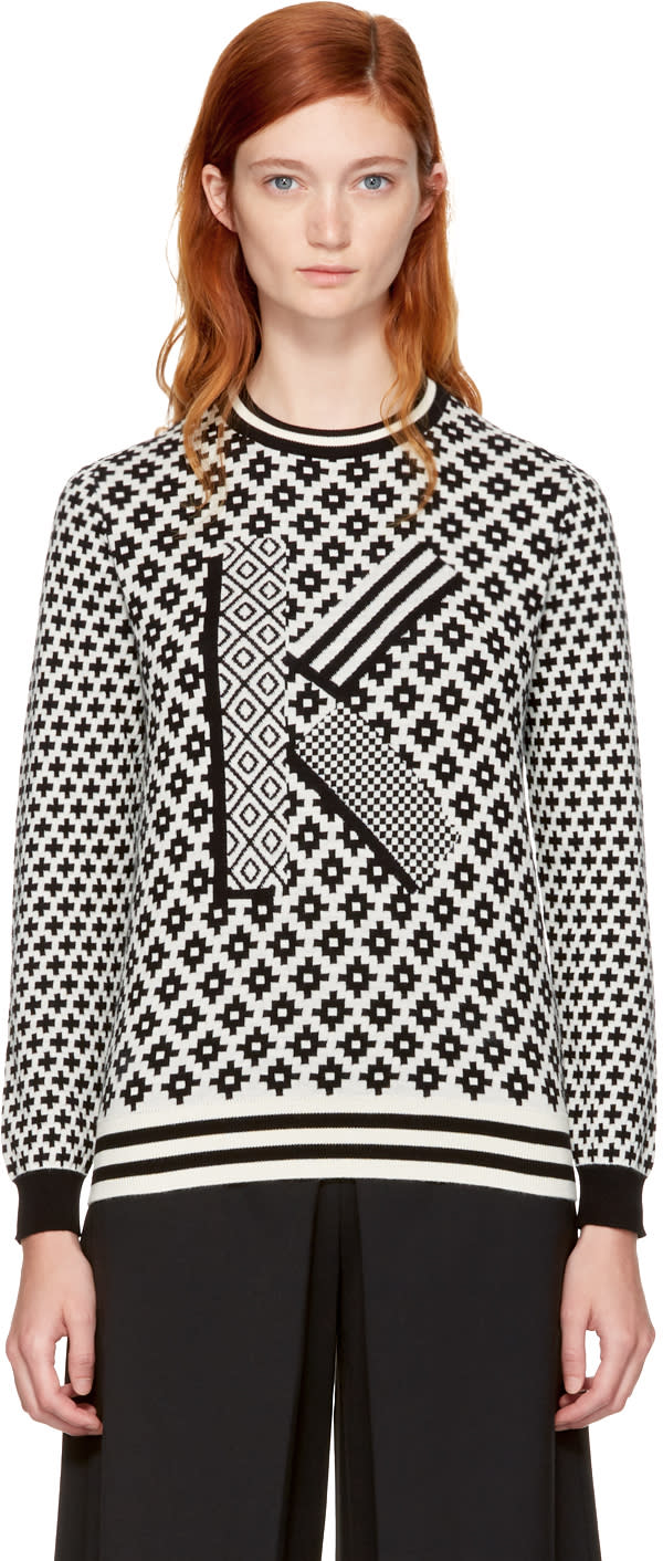 Image of Kenzo Black and Ivory Fairisle k Sweater