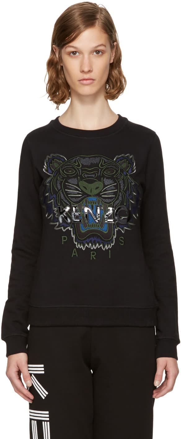 Image of Kenzo Black and Green Tiger Sweatshirt