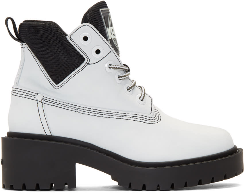 Kenzo White Suede Sierra Boots