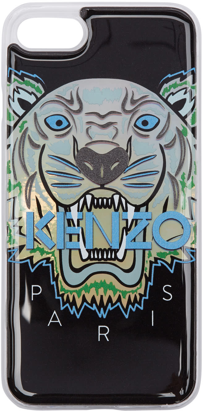Image of Kenzo Black and Blue Limited Edition Northern Lights Tiger Iphone 7 Case