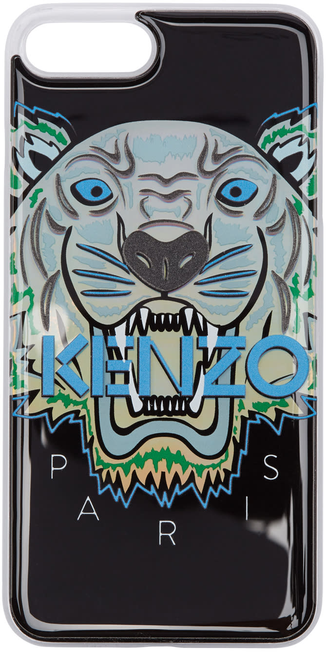 Image of Kenzo Black and Blue Limited Edition Northern Lights Tiger Iphone 7 Plus Case
