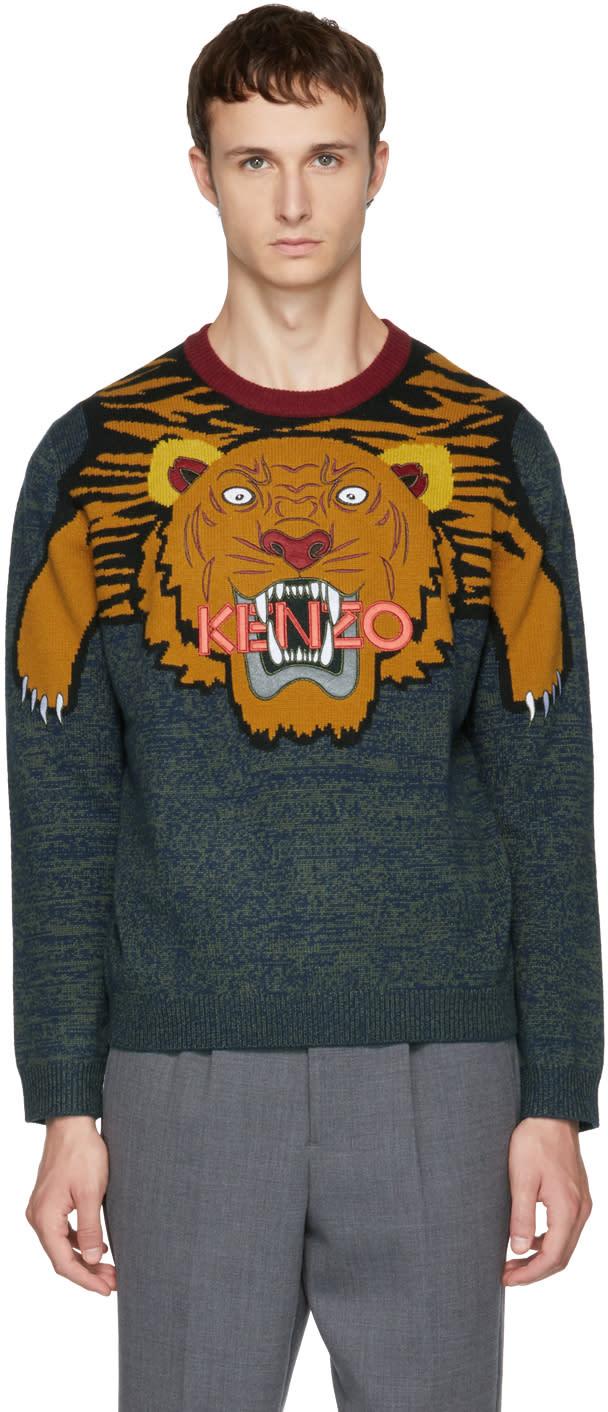 b21327ba Kenzo Multicolor Intarsia Tiger Sweater