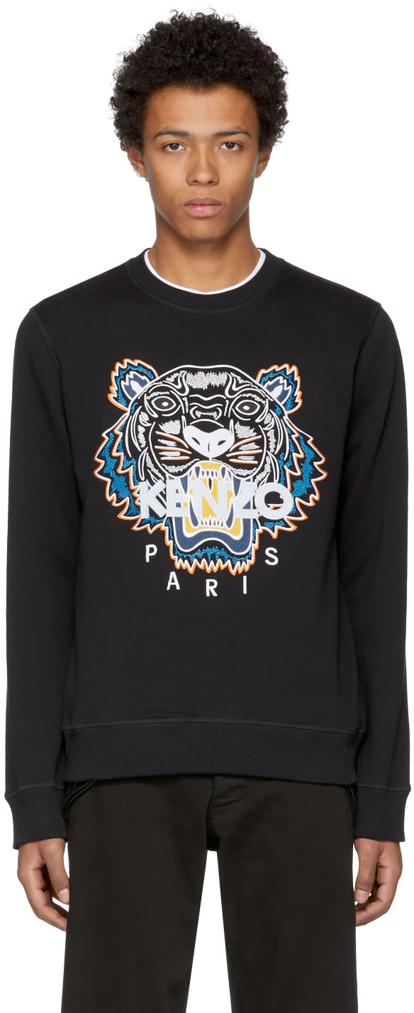 Image of Kenzo Black Actua Tiger Sweatshirt