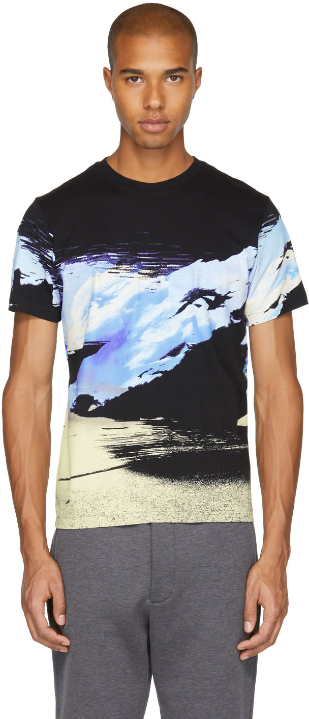 Image of Kenzo Black Abstract Landscape T-shirt