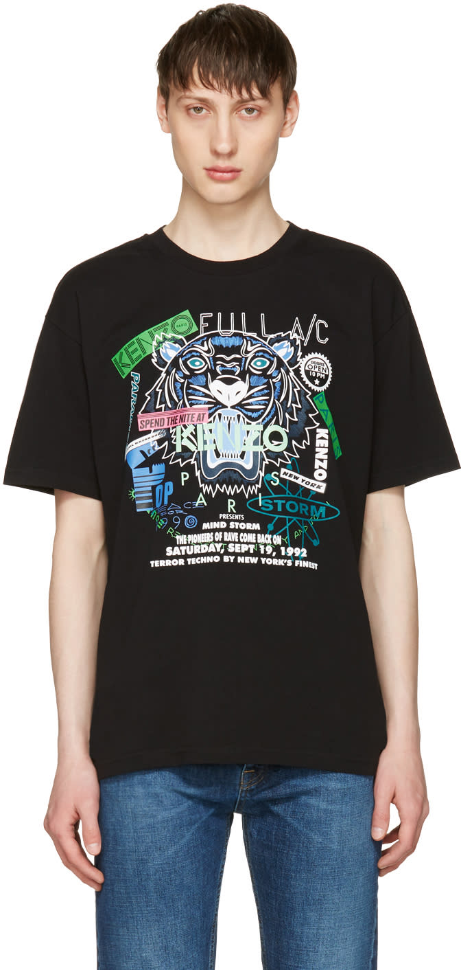 Kenzo Black tiger X Flyer T-shirt
