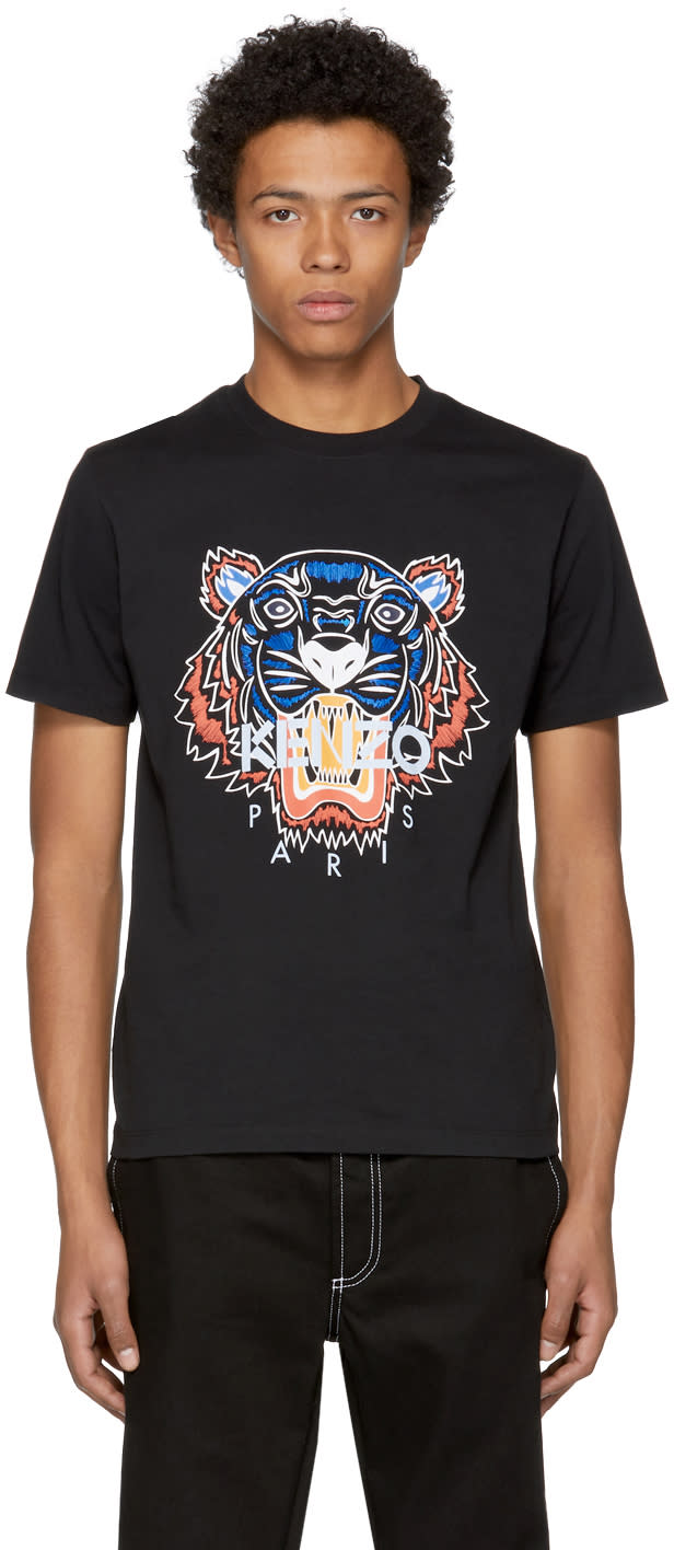 Image of Kenzo Black Actua Tiger T-shirt