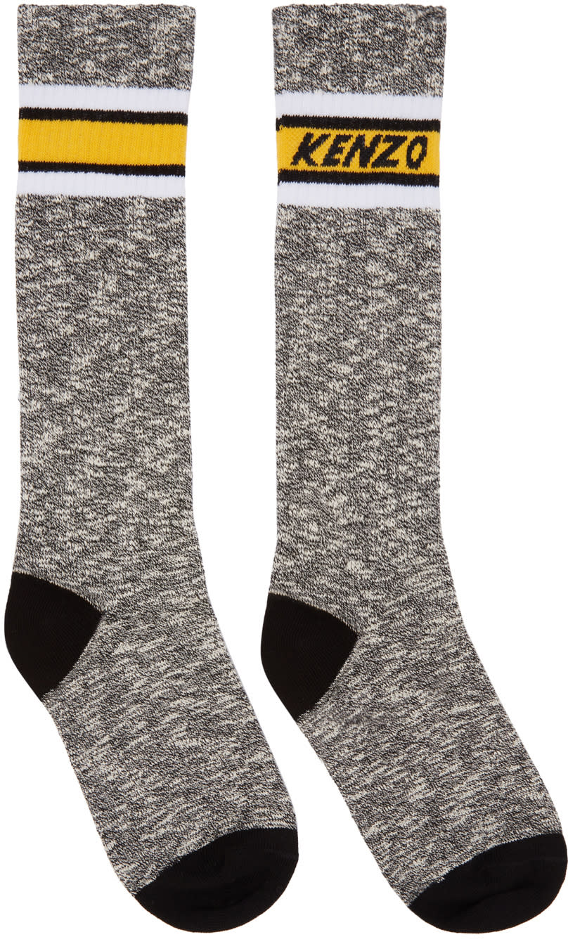 Image of Kenzo Black and White Logo Stripe Socks
