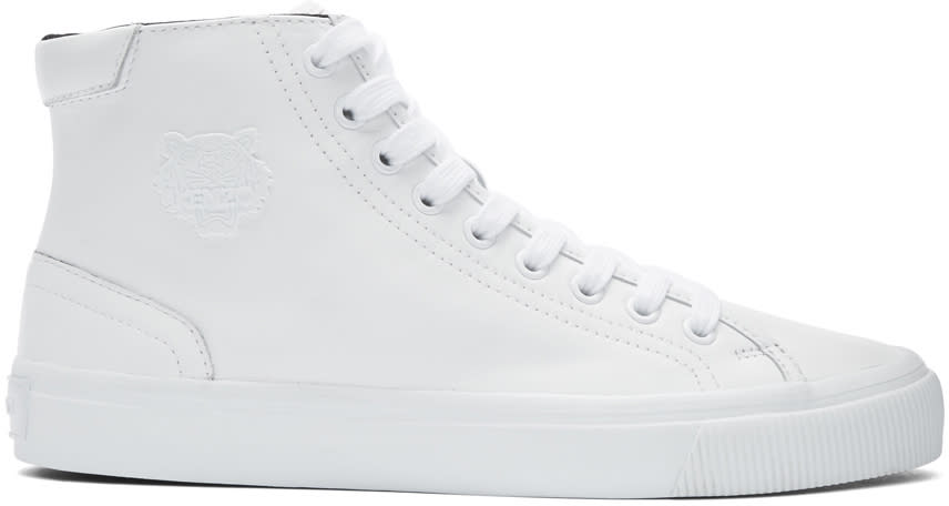 Kenzo White Leather High-top Sneakers