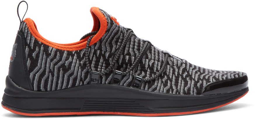 Image of Kenzo Black and Grey Knit Ozon Sneakers