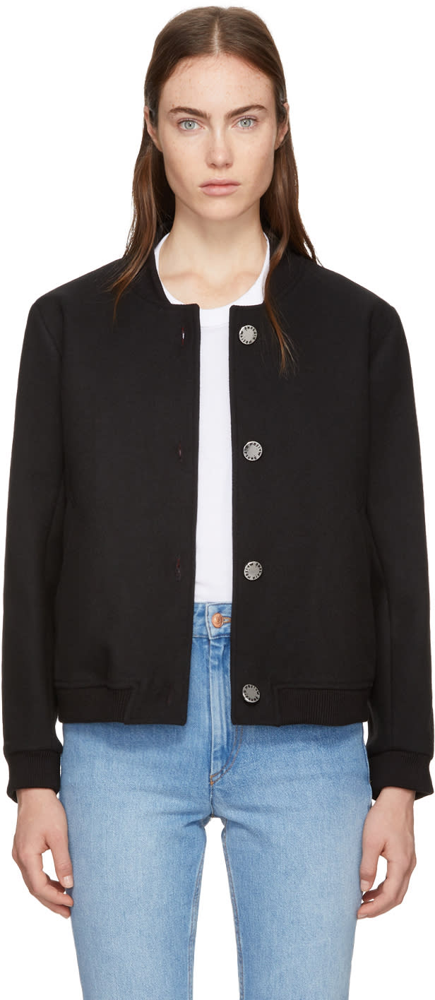 Image of Maison Kitsuné Black Woolen Teddy Jacket