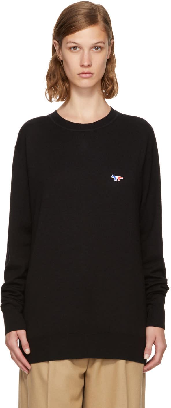 Image of Maison Kitsuné Black Tricolor Fox Patch Sweater