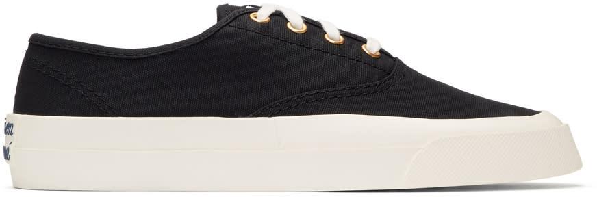 Image of Maison Kitsuné Black Canvas Sneakers