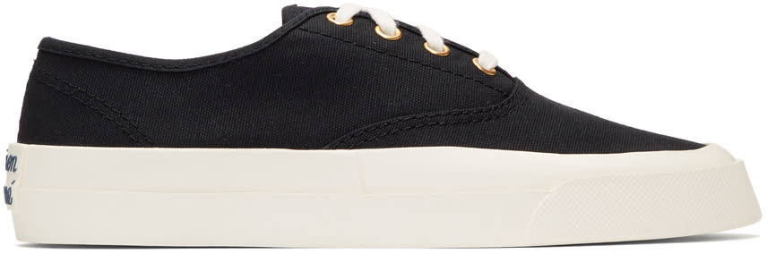 Maison KitsunE Black Canvas Sneakers