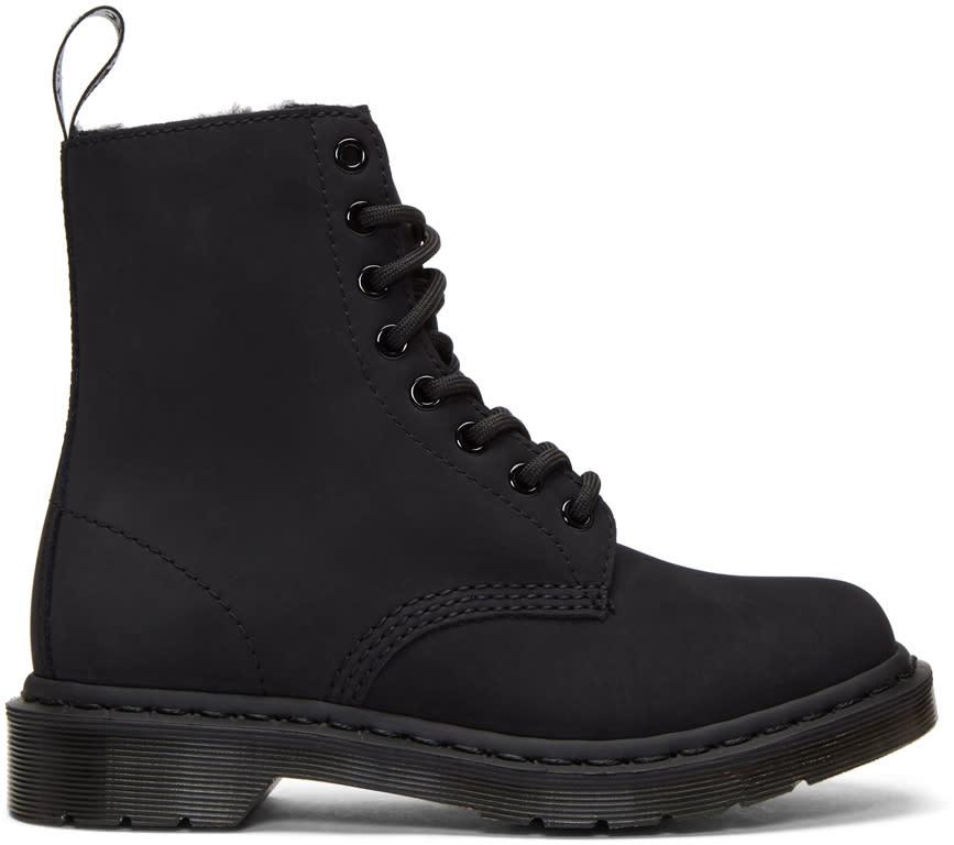 Dr. Martens Black  Fur-lined Mono 1460 Boots