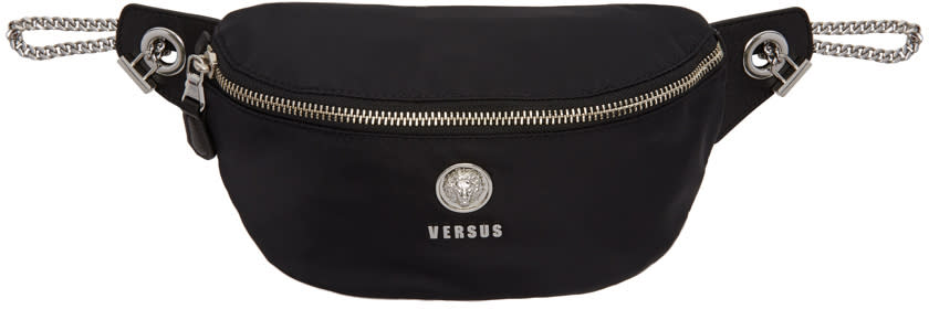 Versus Black Nylon Lion Medallion Waist Bag